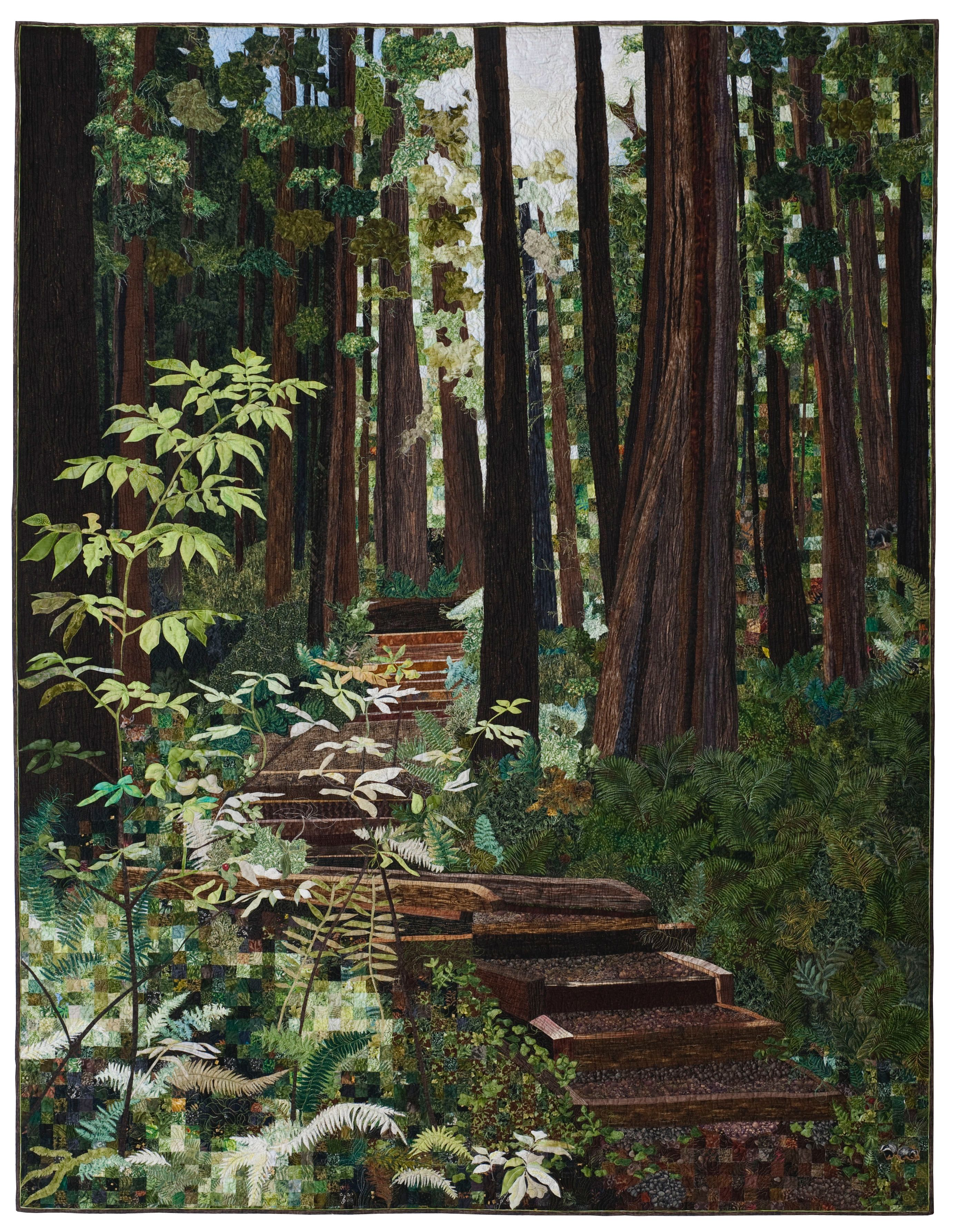 pin canvas and townsdin jessie quilt acrylic forest on leaves trees