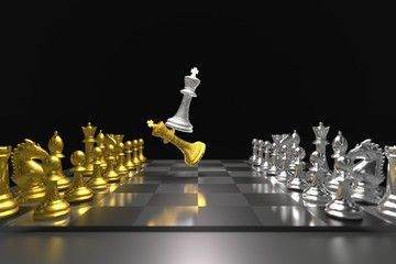 Set of chess checkmate concept 3D rendering illustration of goldsilver metallic chess figures with major and minor pieces isolated on black background High resolution 3D...