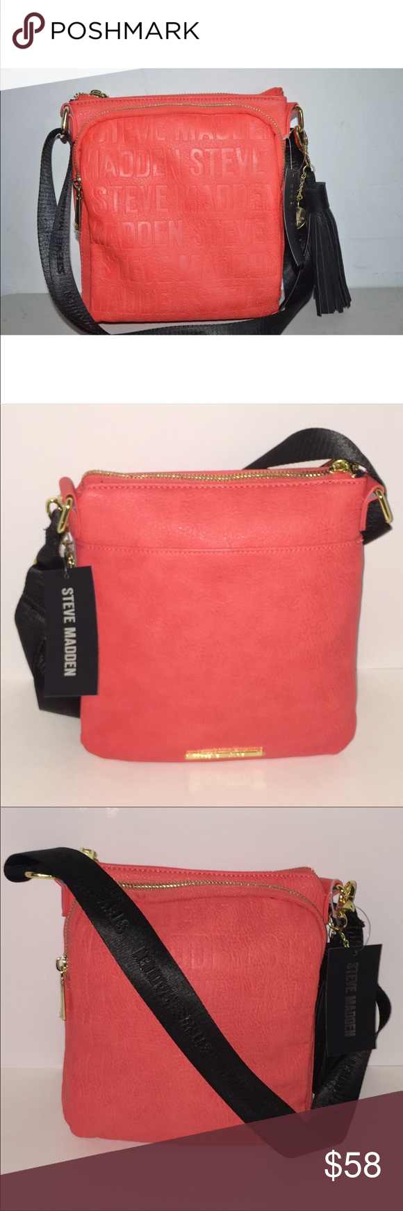 31fecc9634 Authentic SteveMadden BGLAM LOGO crossbody bag Steve Madden BGLAM LOGO coral  crossbody bag With detachable tassel