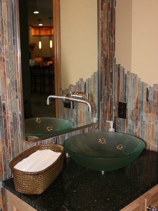 powder room glass tile backsplash design pictures remodel decor rh pinterest com