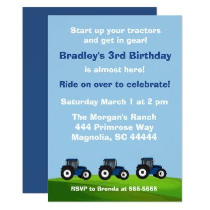 Blue Tractor Chalkboard Birthday Invitation Invitation ideas