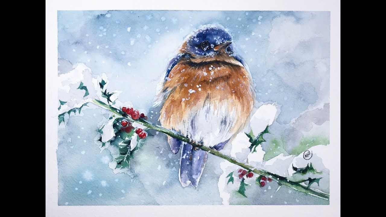 Watercolor Bird In A Snow Painting Tutorial Youtube Watercolor