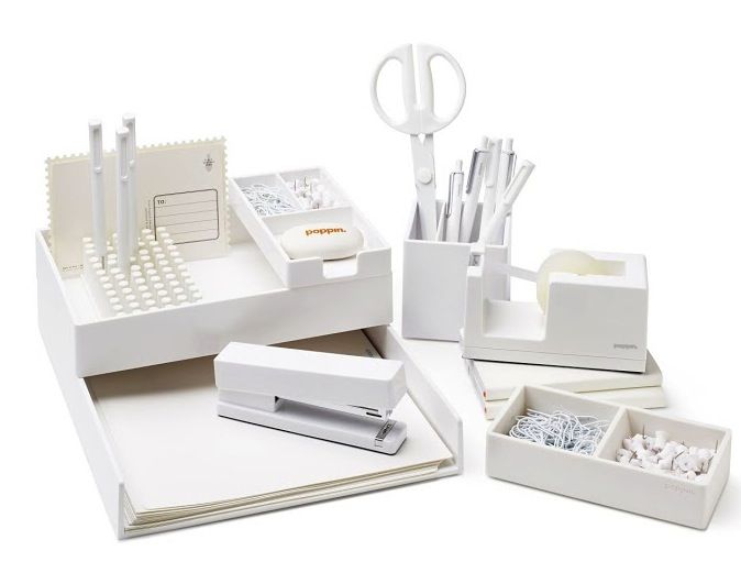 White Poppin Desktop Set White Office Supplies Desk Essentials