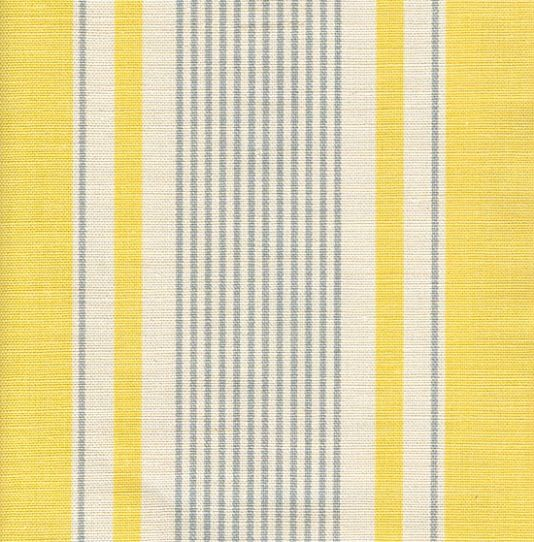 French Ticking Linen Fabric Yellow And Grey Ticking Stripe Printed On Off White Linen Products