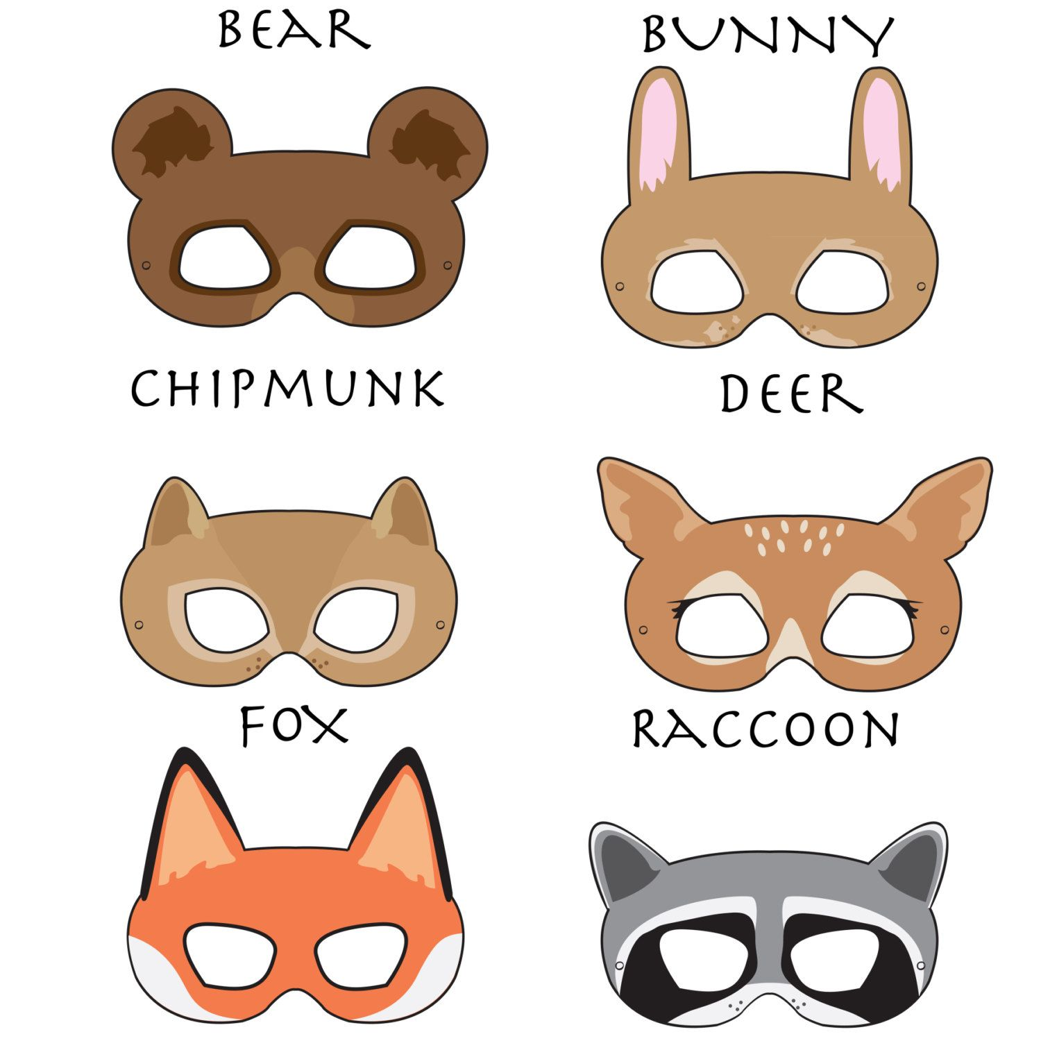 Woodland Forest Animals Printable Masks Animal Mask Bear Fox