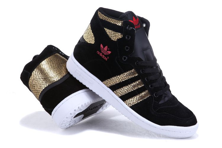 Adidas High Tops Shoes Gold Snake Scale Black for Men and Women ... db284e0a92