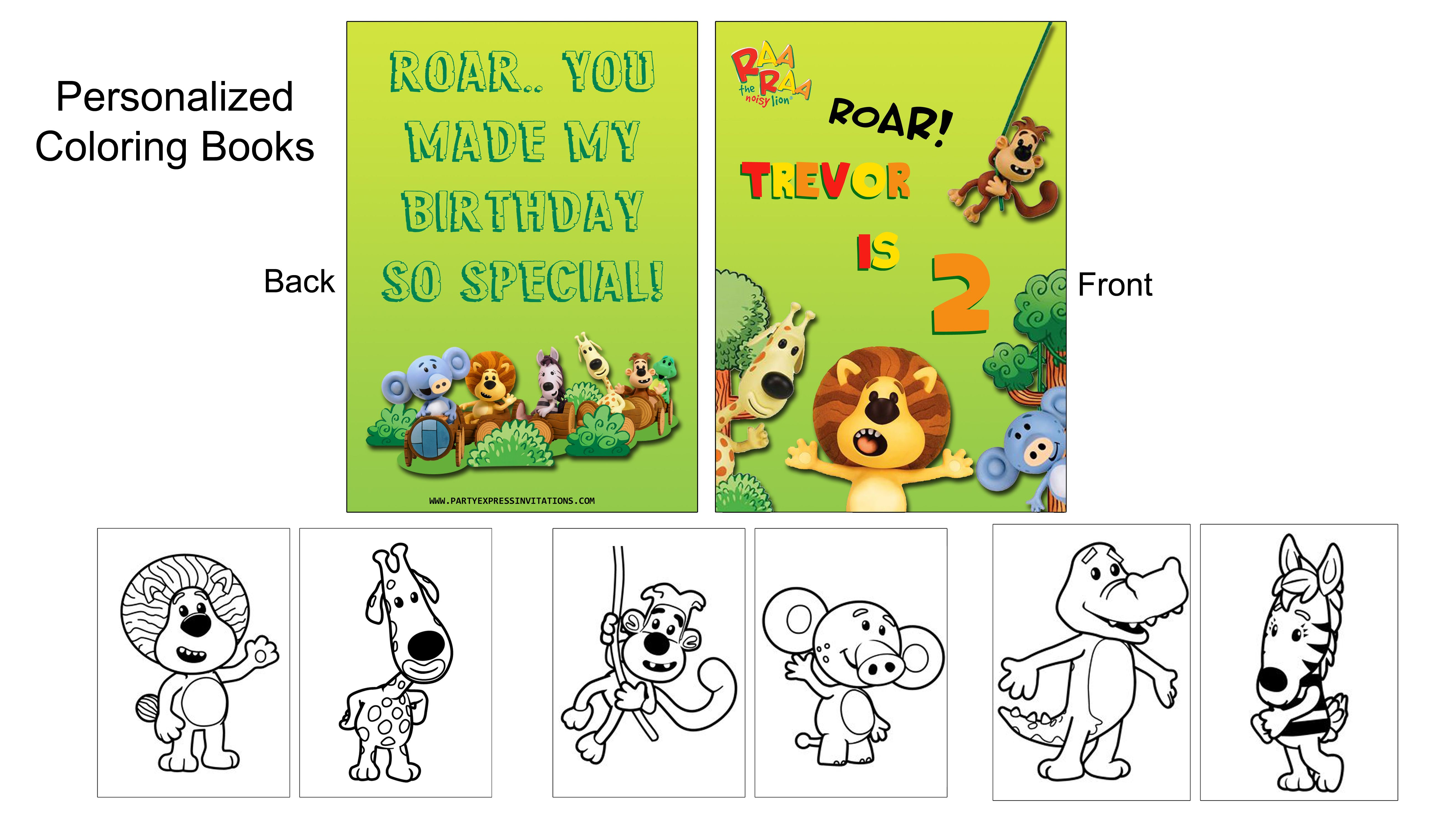 Personalised Raa Raa The Noisy Lion Birthday Party Banner and Supplies