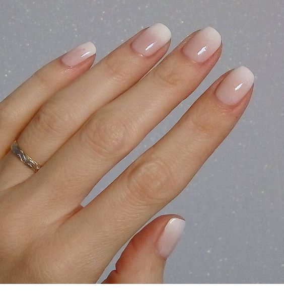 Natural Ombre Pink Short Nails Simple Acrylic Nails Ombre Nails Manicure