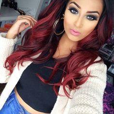 Ombré hair cerise : la couleur tendance pour les brunes – 22 photos – Trend Zone