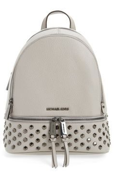 19797741c597 ... france michael michael kors medium rhea zip studded leather backpack  grey pearl grey tendencias pinterest studded