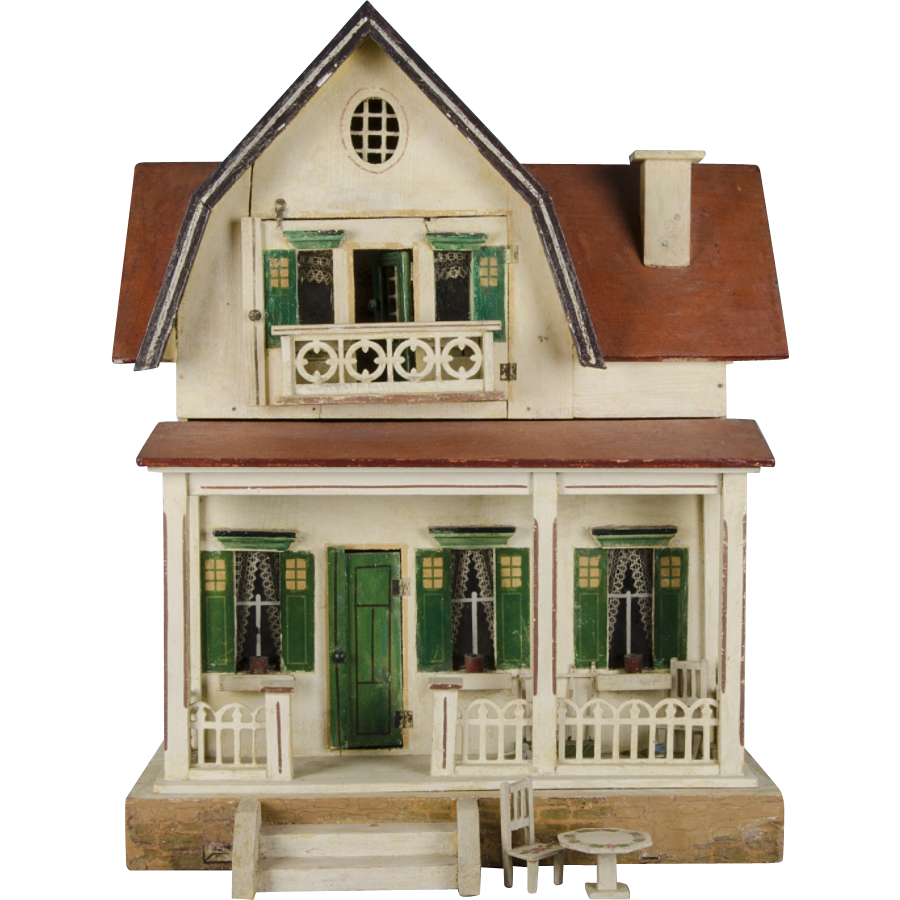 A small and highly collectible Schönherr red-roofed dolls' house dating to the1920s, white painted with green doors, lintels and shutters. It