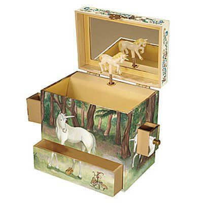 """Musical Jewelry Box - Enchantmints Unicorn Music Box: Plays """"The Unicorn"""" with a spinning unicorn figurine. -Magical unicorns in a forest scene with tiny fairy friends, in our tallest four drawer treasure box"""