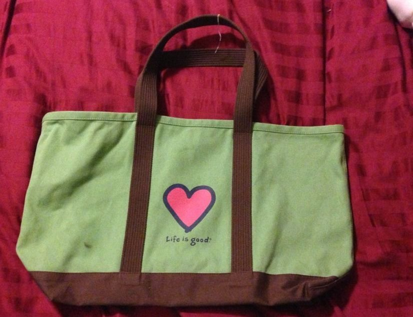 Life Is Good green canvas rucksac, sturdy tote for Back to School ...