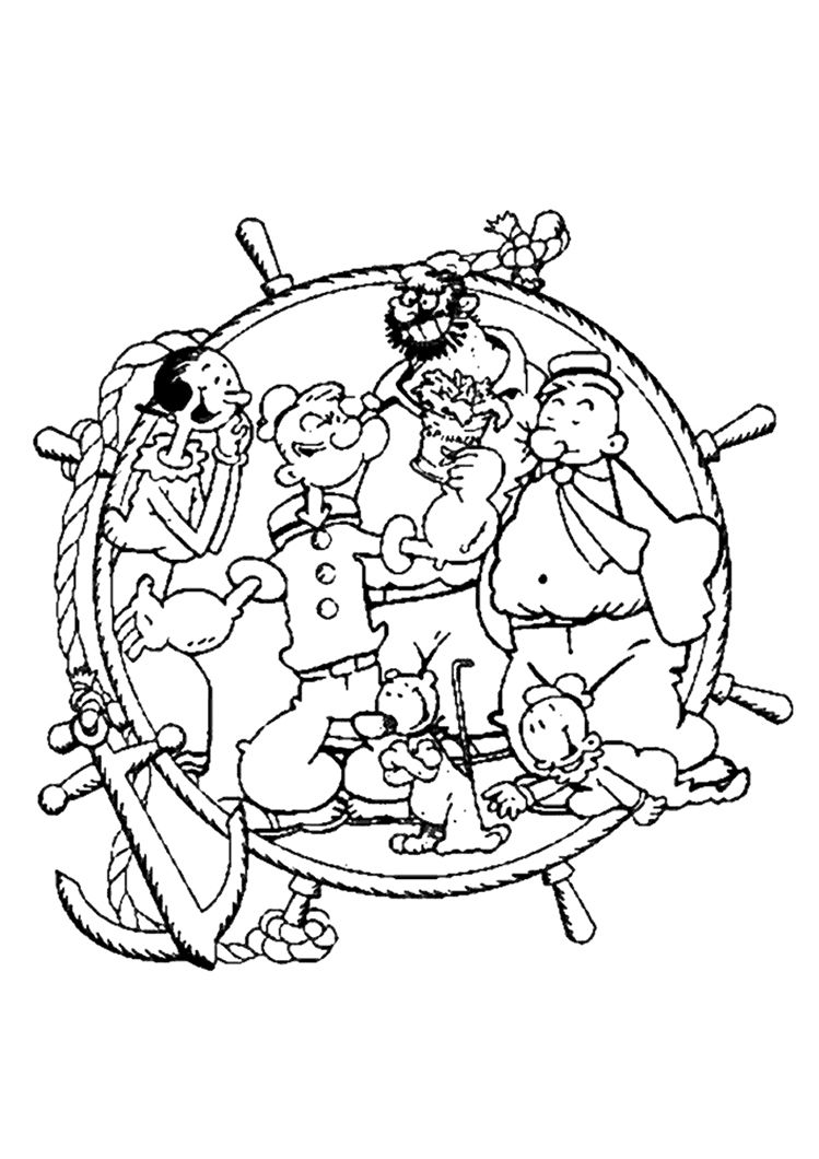 popeye characters coloring | POPEYE COLORING PAGES PRINT