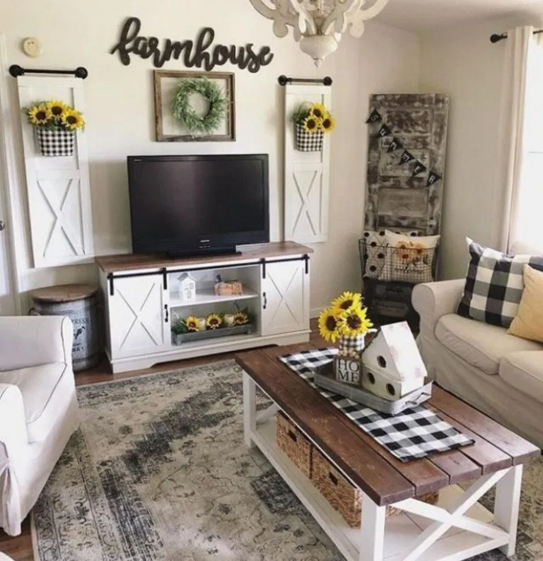43 Best Farmhouse Living Room Tv Wall Decor Ideas Farmhouse Style Living Room Decor Farmhouse Style Living Room Farm House Living Room