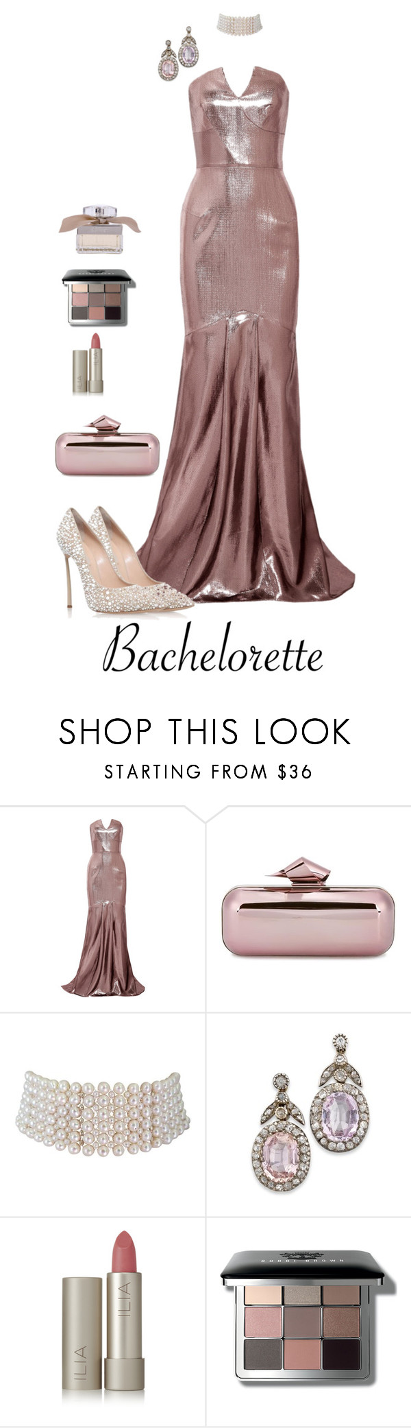 """Untitled #4706"" by barones-tania ❤ liked on Polyvore featuring Roland Mouret, Casadei, Jimmy Choo, Marina J., Ilia, Bobbi Brown Cosmetics and Chloé"