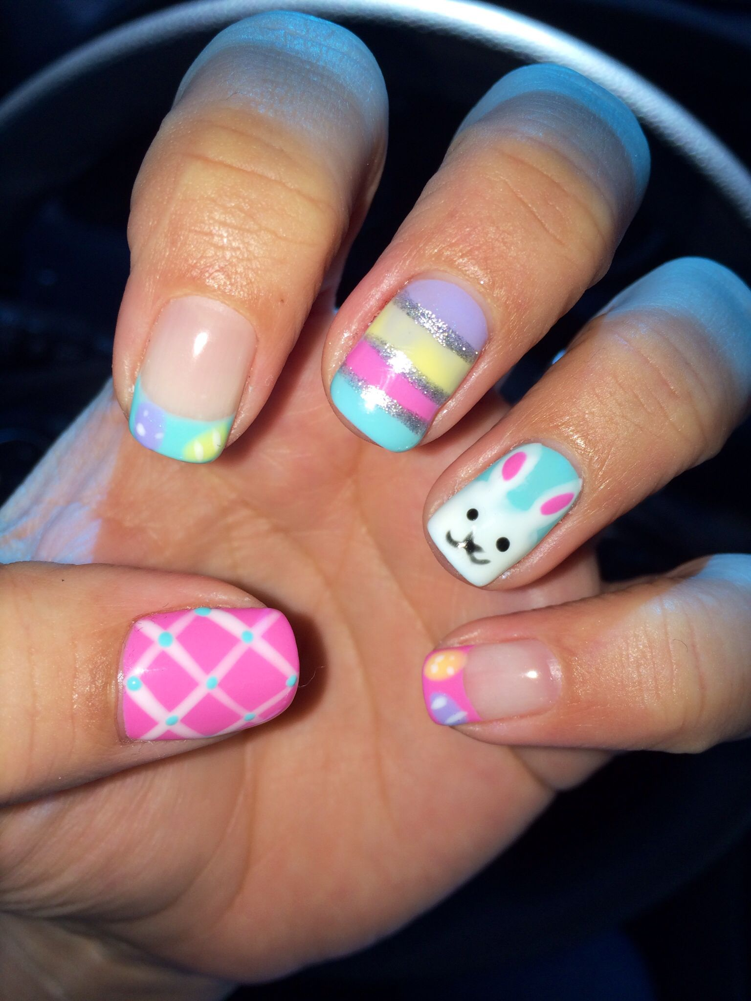 Easter gel nail. Easter bunny, Easter eggs. Cute pink and blue gel ...
