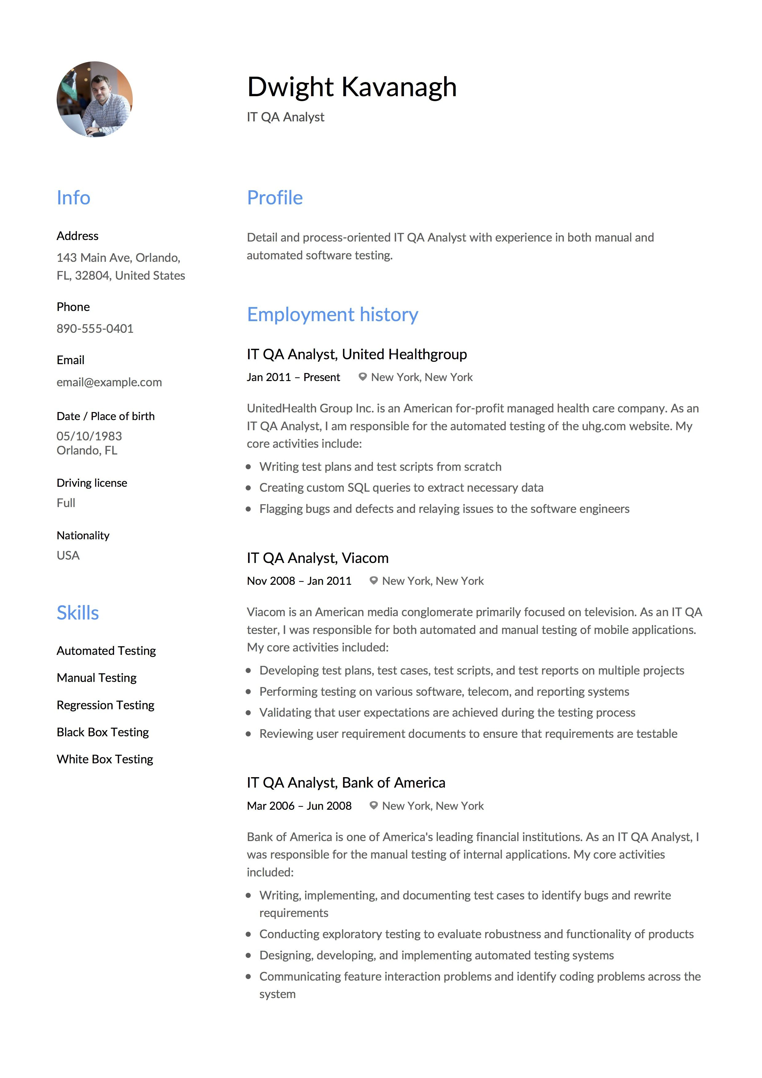It Qa Analyst Resume Example Resume Examples Resume Template Resume