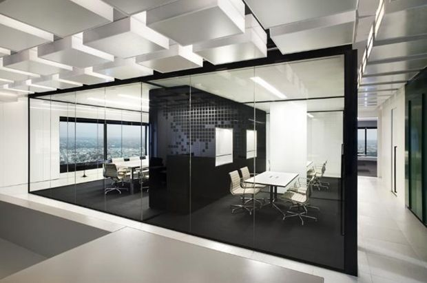 Office Interior Designs At Home And Corporate : Beautiful Modern Black  White Glasses Wall Office Interior Design