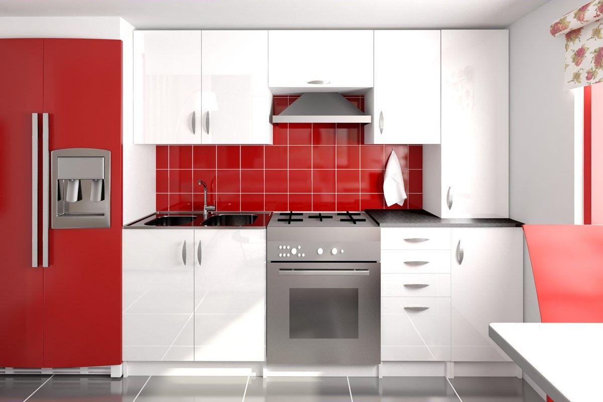 Image : Cuisine compl te en kit laqu e brillant - rouge, gris