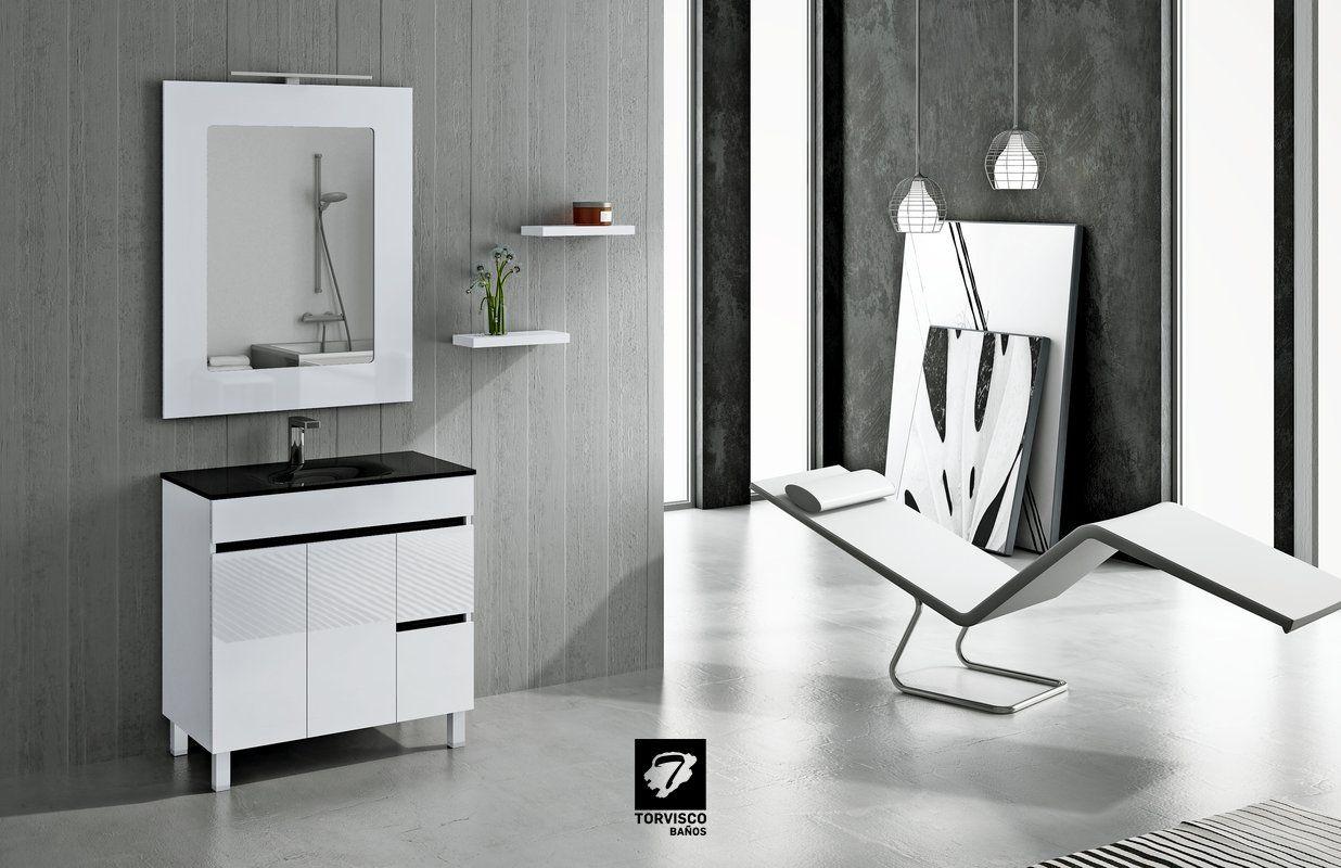 Mueble De Ba O Sil De 80cms En Blanco Brillo Y Kit Color En Negro  # Muebles El Foco