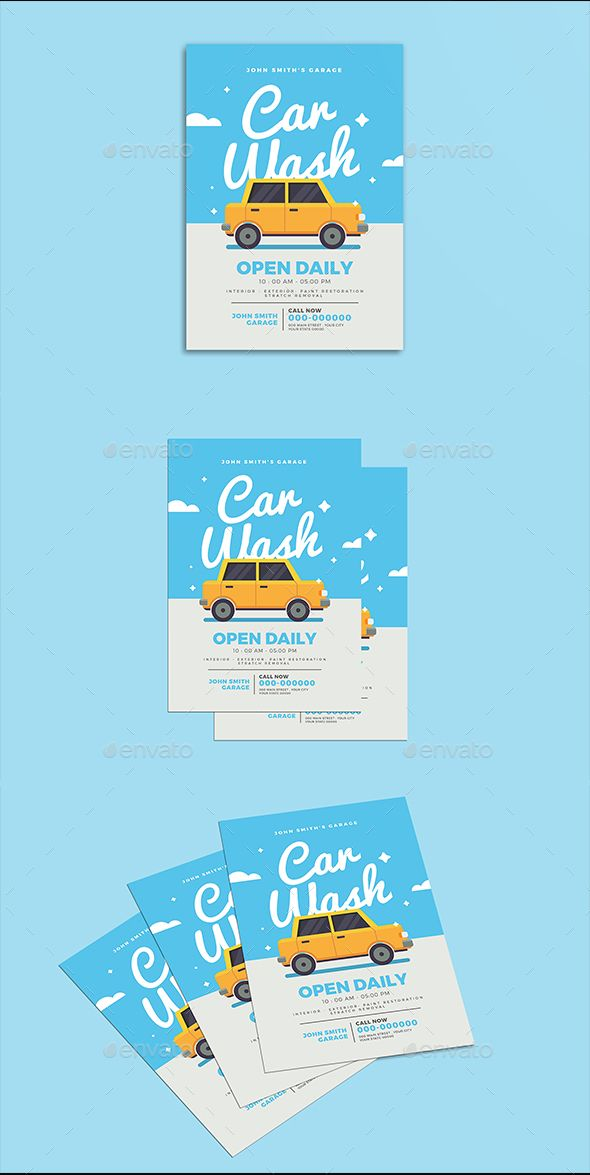 Car Wash Flyer Creative Project Pinterest Car Wash Fonts And
