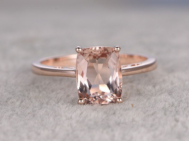 7x9mm Morganite Engagement ring Rose gold Solitaire wedding band