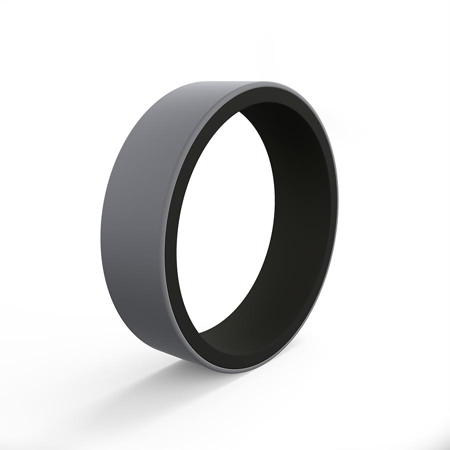 NEW Qalo Men/'s Black Silver Pinstripe Silicone Wedding Ring Size 9 10 11