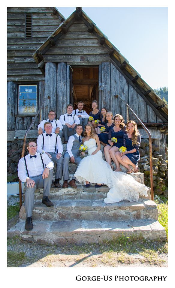 Bridal Party Posing On Stairs Mt Hood Ski Bowl Wedding Venue Photo By Gorge Us Photography Www Usphoto