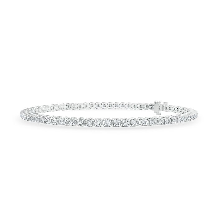 Angara Aquamarine Diamond Tennis Bracelet in 14k Rose Gold