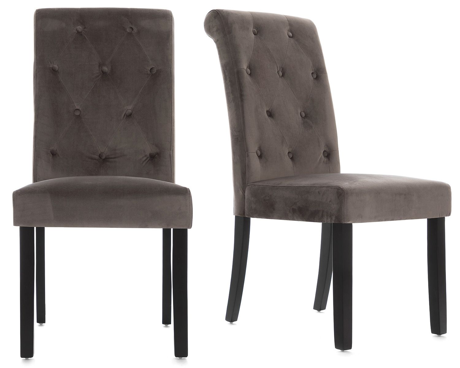 Romano Scroll Back Dining Chair In Grey Velvet With Black Legs