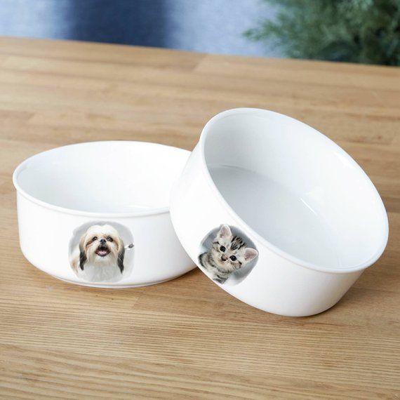 Pequeño gato medio perro alimentación soporte / levantado madera soporte elevado / personalizar el plato de cerámica y alimentos los tazones de fuente / levantar estación de alimentador del animal doméstico