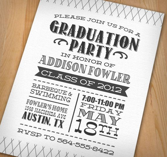 LETTERPRESS Graduation Party Printable Invitation College - Party invitation template: grad party invites templates