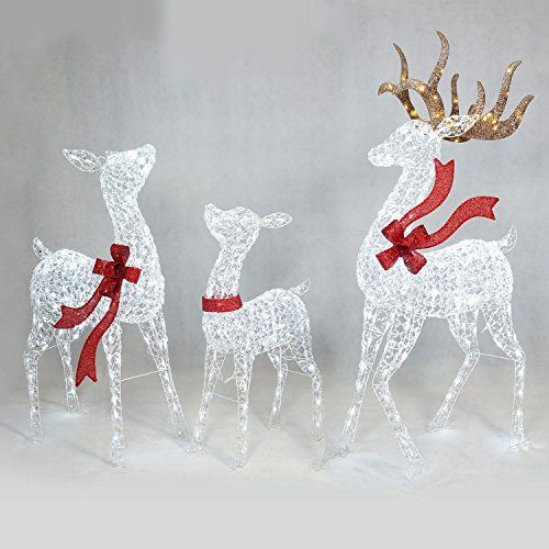 Prelit Led Lighted Twinkling Crystal Beaded 3pc Deer Family Outdoor Yard Decor Details Can Rozhdestvenskie Idei Rozhdestvenskie Proekty Rozhdestvenskie Izdeliya