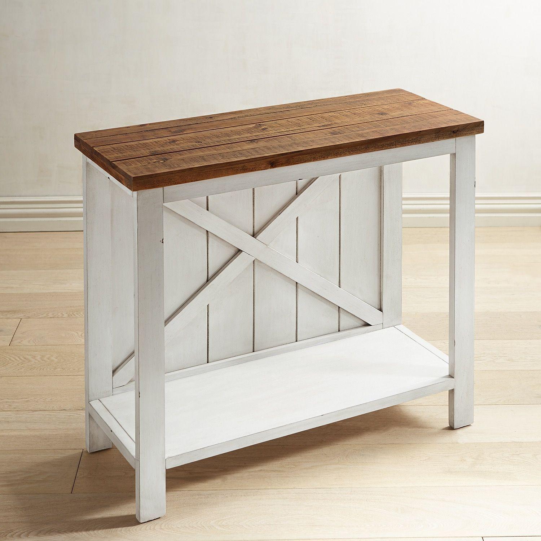 Farmhouse White Small Console Table White Wash