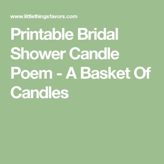 af5831c01668e9 Printable Bridal Shower Candle Poem - A Basket Of Candles Bridal Shower  Poems