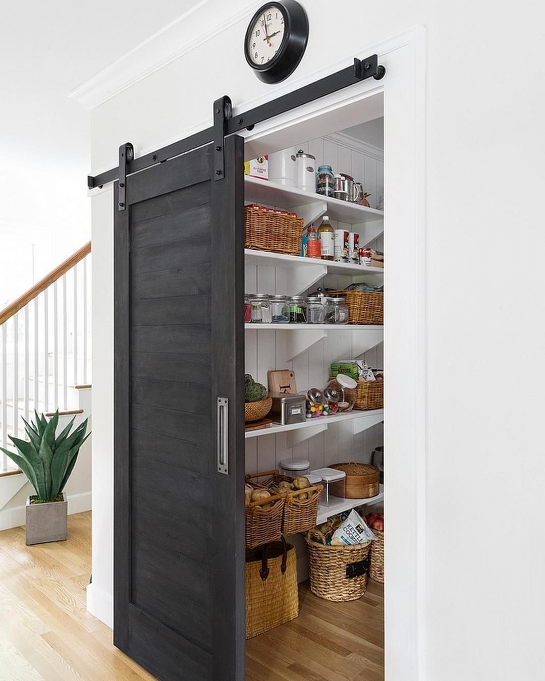 "Homes & Decor on Instagram: ""Pantry inspiration! Go to my Stories for the direct link to this post. The #pantry features a black #barndoor, painted in Old Fashioned…"""
