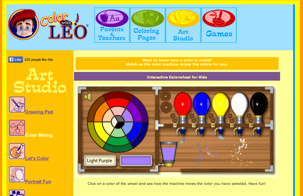 FUN interactive free game to help kids learn about colour