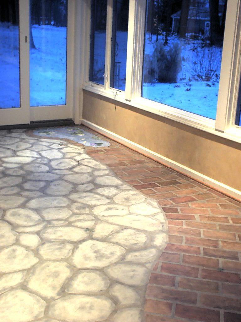 Faux Stone Floor Basement Flooring Patio Flooring