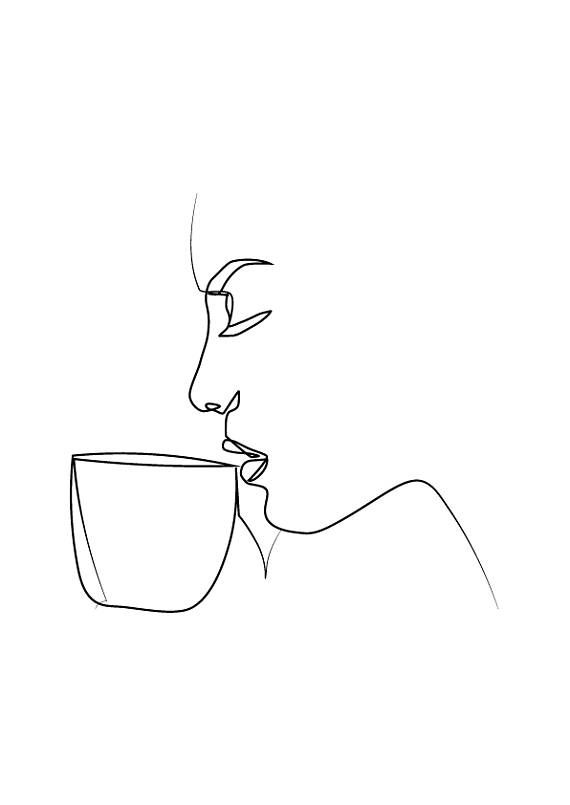 Minimal Woman Drinking Coffee Art , One Line Art , Modern Art, Black and White Art, White Background
