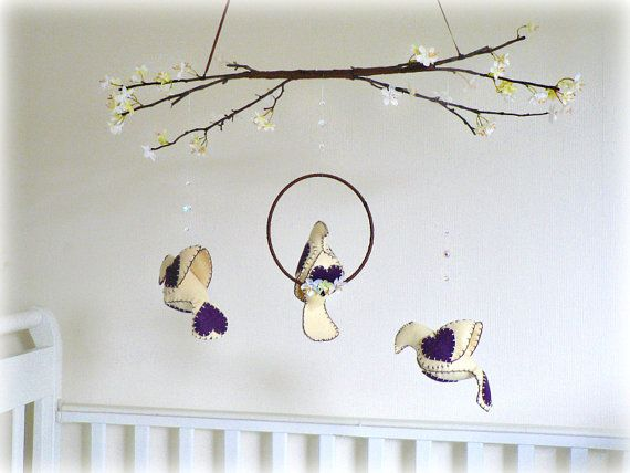 Spring bird mobile and cherry blossoms by Lullaby Mobiles