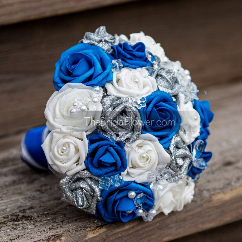 Royal Blue Silver And White Wedding Bouquets   Google Search