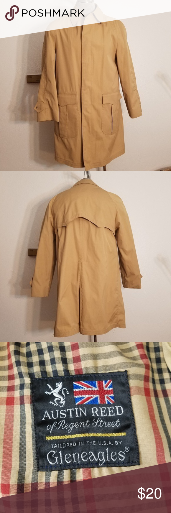 Austin Reed Men S Khaki Rain Coat Jacket Is Lined But Includes Zipper For An Additional Lining Which Is Not Present Chest 24 Raincoat Mens Khakis Austin Reed