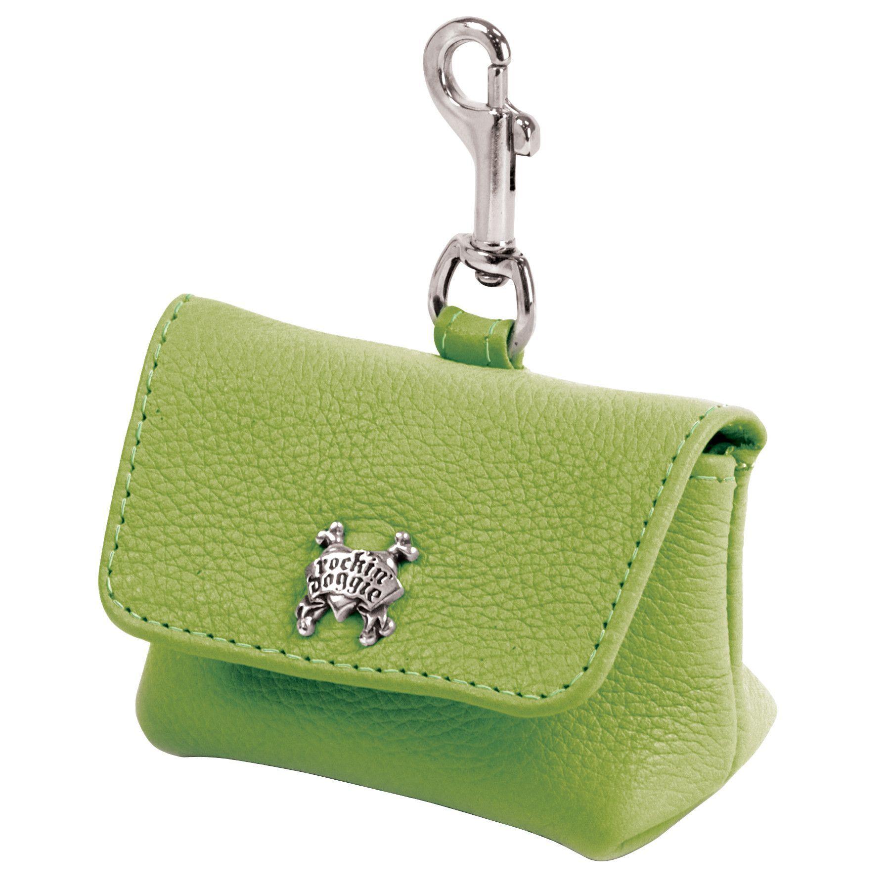 Leather Dog Waste Bag Holder - Green