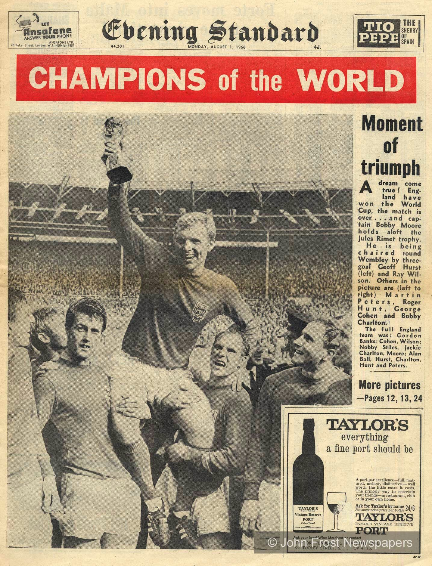 Newspaper front page of England's World Cup Finals triumph