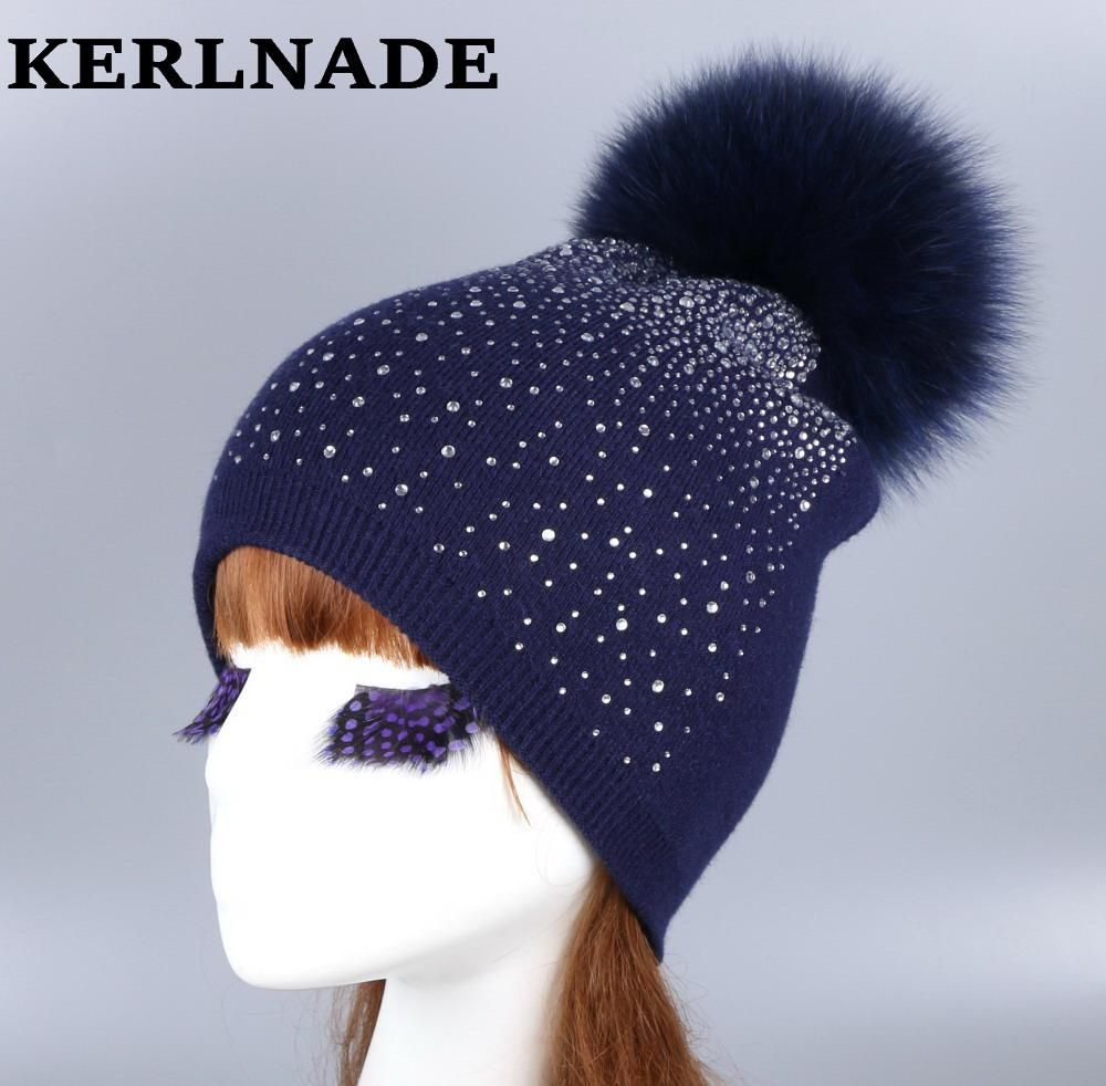8f24cccfdd25d Yesterday's price: US $18.90 (16.58 EUR). Today's price: US $10.58 (9.29  EUR). Discount: 44%. Wholesale women fashion wool winter hat with fox mink  pompom ...