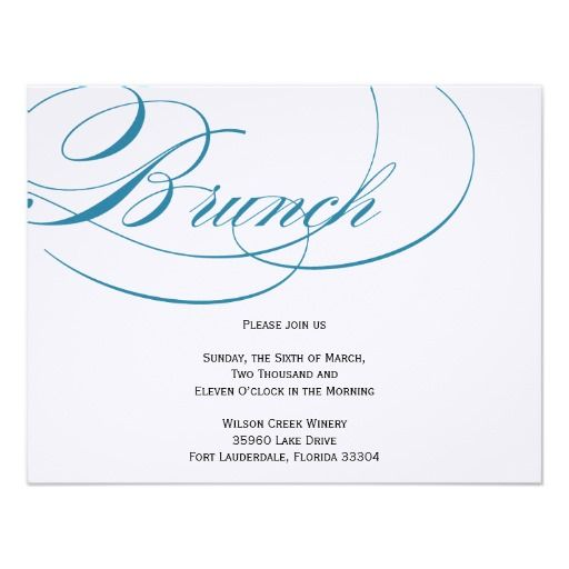 Elegante Skript Brunch Einladung   Blau 10,8 X 14 Cm Einladungskarte