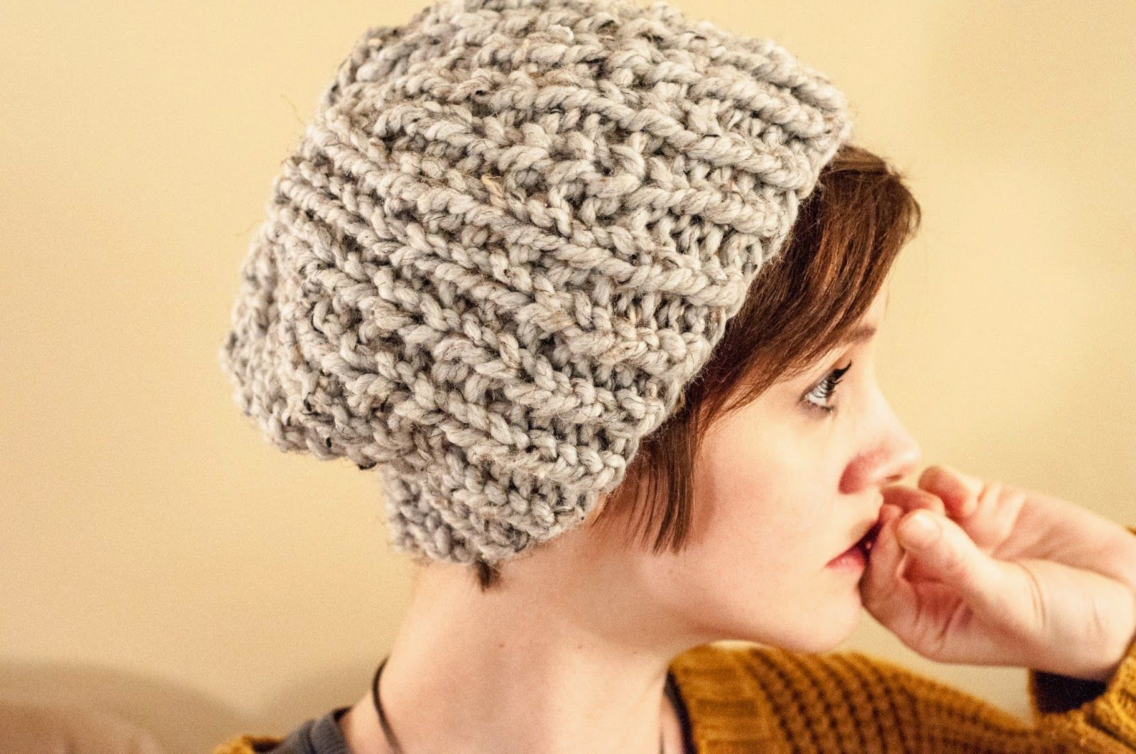 free knit hat pattern chunky mistake ribbed uses lion brand wool ease t   Q  yarn and size 15 needles 62670d66ef4