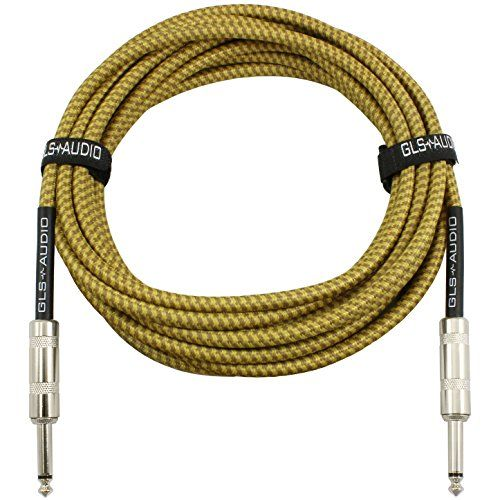 Gls Audio 20 Foot Guitar Instrument Cable 1 4 Inch Ts To 1 4 Inch Ts 20 Ft Brown Yellow Tweed Cloth Jacket 20 Feet Pro Cord 20 Phono 6 3mm Single Guitar Cable Guitar Instruments