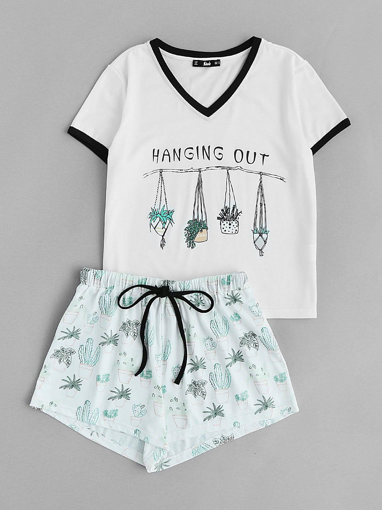 Graphic Ringer Tee And Drawstring Shorts Pajama SetFor Women-romwe 5b85eed29